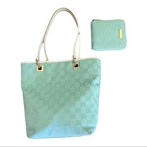 EUC Vintage Gucci Baby Blue Tote And Wallet